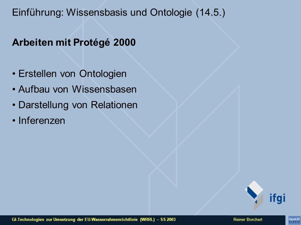 GI-Technologien zur Umsetzung der EU-Wasserrahmenrichtlinie (WRRL) – SS 2003 Reiner Borchert Einführung: Wissensbasis und Ontologie (14.5.) Arbeiten m