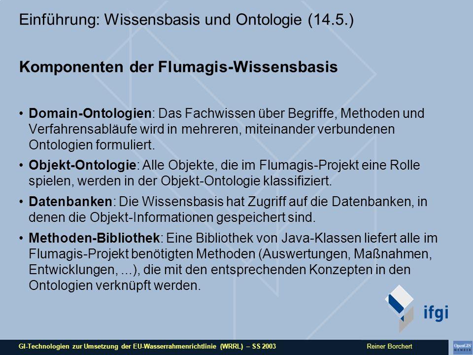 GI-Technologien zur Umsetzung der EU-Wasserrahmenrichtlinie (WRRL) – SS 2003 Reiner Borchert Einführung: Wissensbasis und Ontologie (14.5.) Komponenten der Flumagis-Wissensbasis Domain-Ontologien: Das Fachwissen über Begriffe, Methoden und Verfahrensabläufe wird in mehreren, miteinander verbundenen Ontologien formuliert.