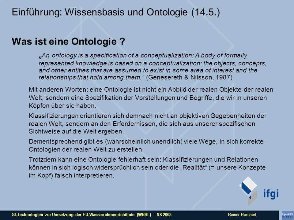 GI-Technologien zur Umsetzung der EU-Wasserrahmenrichtlinie (WRRL) – SS 2003 Reiner Borchert Einführung: Wissensbasis und Ontologie (14.5.) Was ist eine Ontologie .