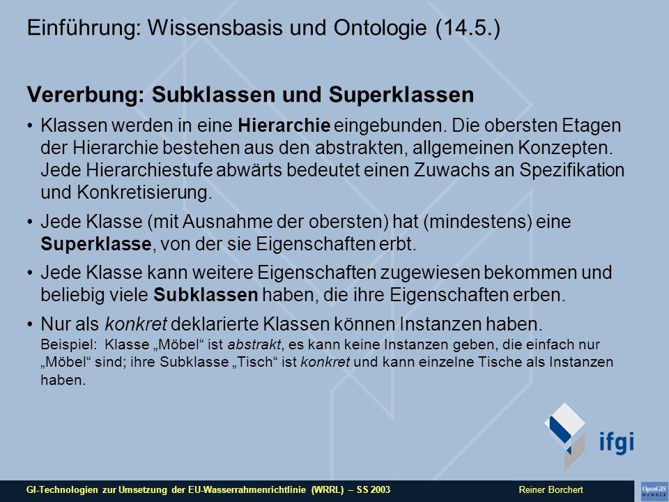 GI-Technologien zur Umsetzung der EU-Wasserrahmenrichtlinie (WRRL) – SS 2003 Reiner Borchert Einführung: Wissensbasis und Ontologie (14.5.) Vererbung: Subklassen und Superklassen Klassen werden in eine Hierarchie eingebunden.