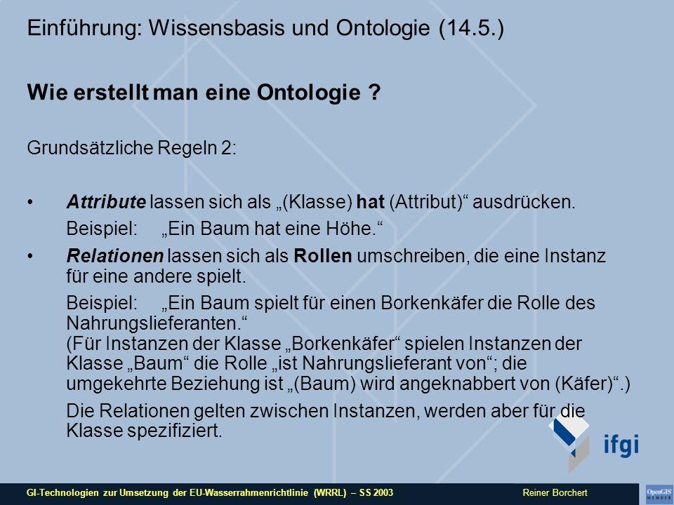 GI-Technologien zur Umsetzung der EU-Wasserrahmenrichtlinie (WRRL) – SS 2003 Reiner Borchert Einführung: Wissensbasis und Ontologie (14.5.) Wie erstellt man eine Ontologie .