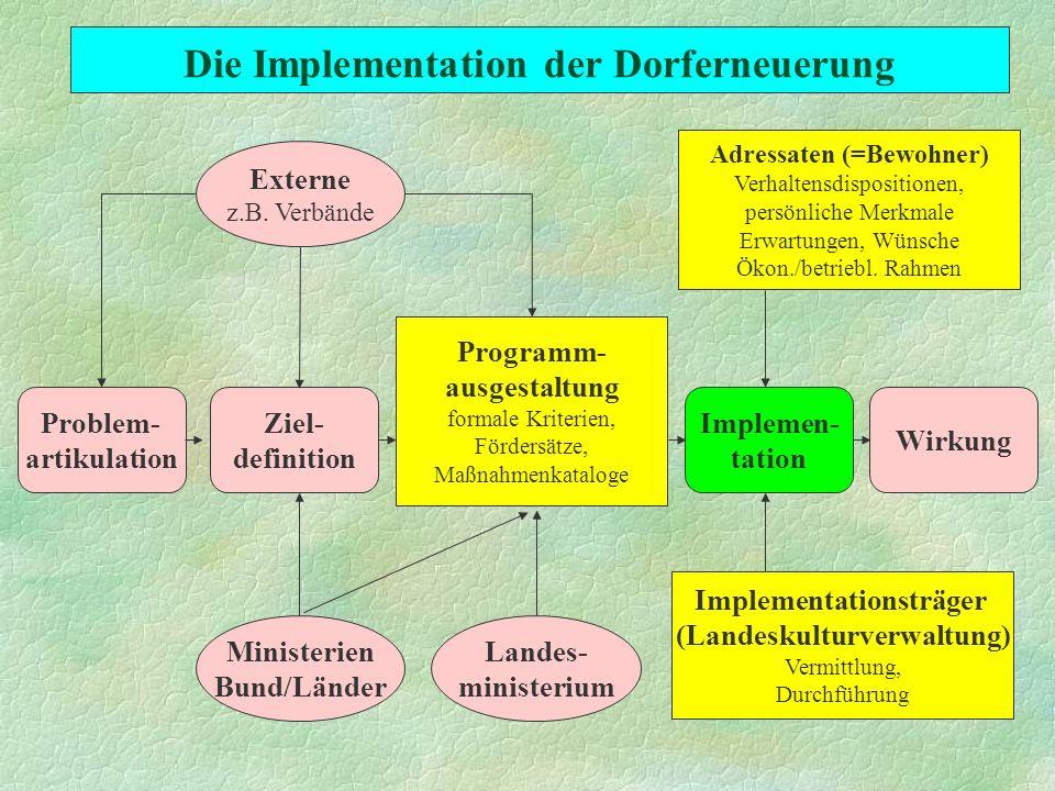 Die Implementation der Dorferneuerung Adressaten (=Bewohner) Verhaltensdispositionen, persönliche Merkmale Erwartungen, Wünsche Ökon./betriebl. Rahmen