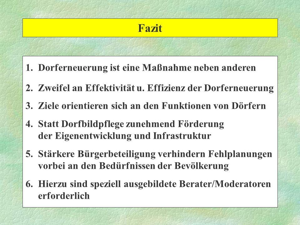 Fazit 1. Dorferneuerung ist eine Maßnahme neben anderen 2. Zweifel an Effektivität u. Effizienz der Dorferneuerung 3. Ziele orientieren sich an den Fu