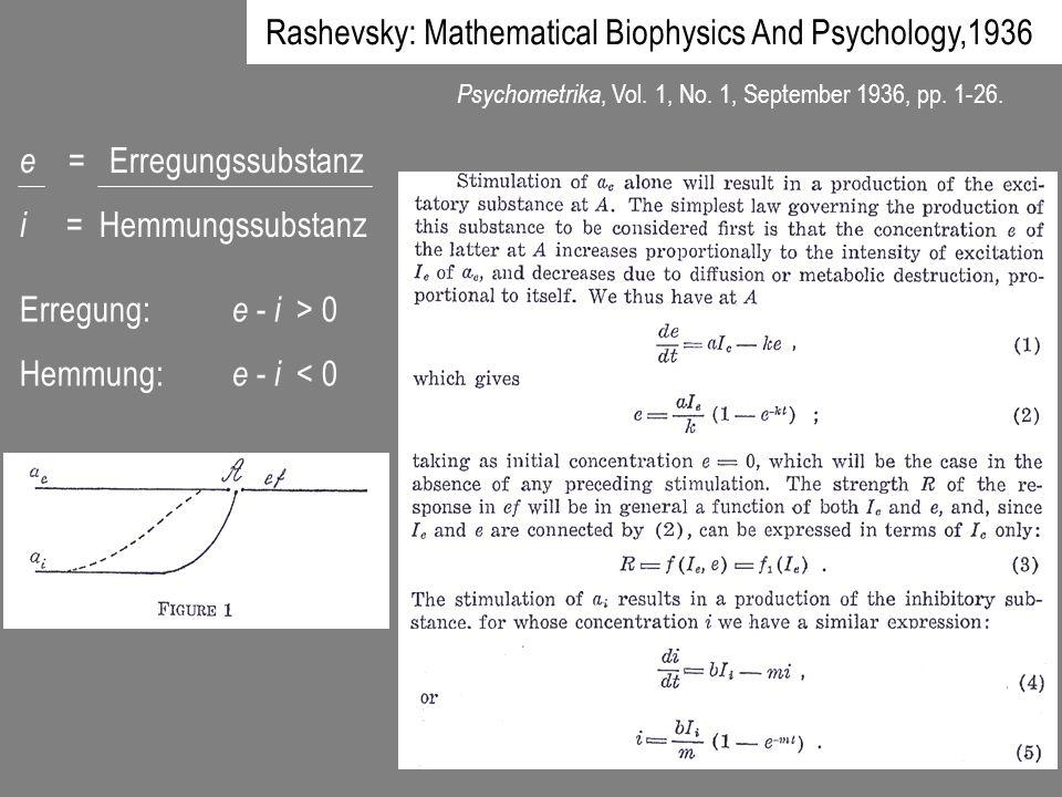Rashevsky: Mathematical Biophysics And Psychology,1936 Psychometrika, Vol. 1, No. 1, September 1936, pp. 1-26. e = Erregungssubstanz i = Hemmungssubst