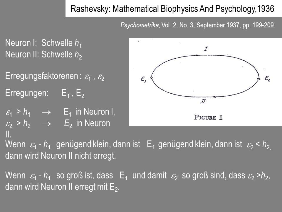 Psychometrika, Vol. 2, No. 3, September 1937, pp. 199-209. Neuron I: Schwelle h 1 Neuron II: Schwelle h 2 Erregungsfaktorenen : 1, 2 Erregungen:E 1, E