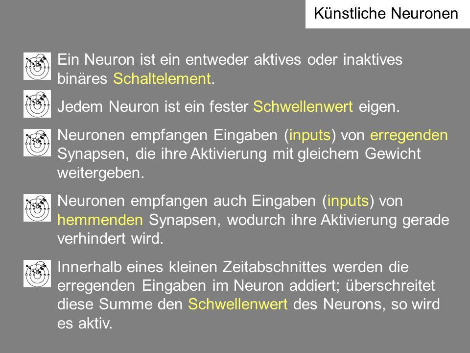 Ein Neuron ist ein entweder aktives oder inaktives binäres Schaltelement. Jedem Neuron ist ein fester Schwellenwert eigen. Neuronen empfangen Eingaben