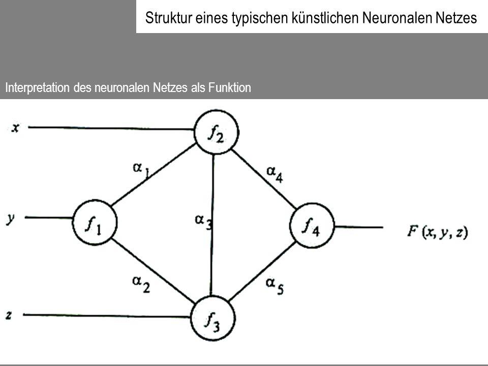 Struktur eines typischen künstlichen Neuronalen Netzes Interpretation des neuronalen Netzes als Funktion