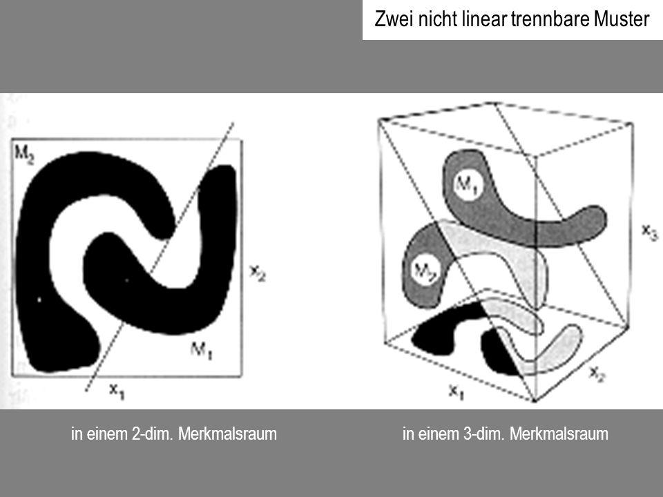in einem 2-dim. Merkmalsraum in einem 3-dim. Merkmalsraum Zwei nicht linear trennbare Muster