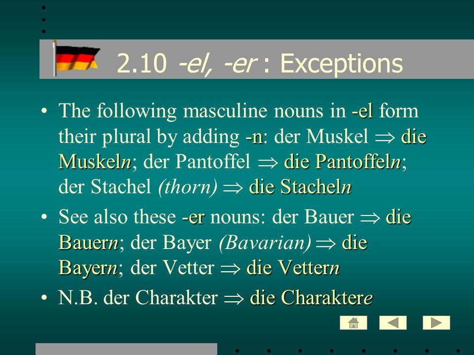 2.10 -el, -er : Exceptions -el -ndie Muskelndie Pantoffeln die StachelnThe following masculine nouns in -el form their plural by adding -n: der Muskel