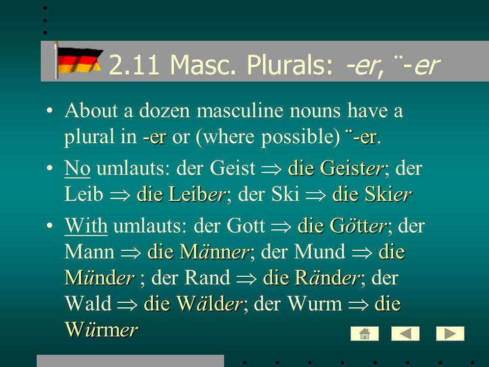 2.11 Masc. Plurals: -er, ¨ -er -er ¨ -erAbout a dozen masculine nouns have a plural in -er or (where possible) ¨ -er. die Geister die Leiberdie SkierN