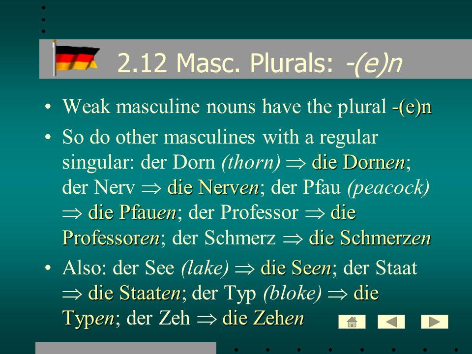 2.12 Masc. Plurals: -(e)n -(e)nWeak masculine nouns have the plural -(e)n die Dornen die Nerven die Pfauendie Professorendie SchmerzenSo do other masc