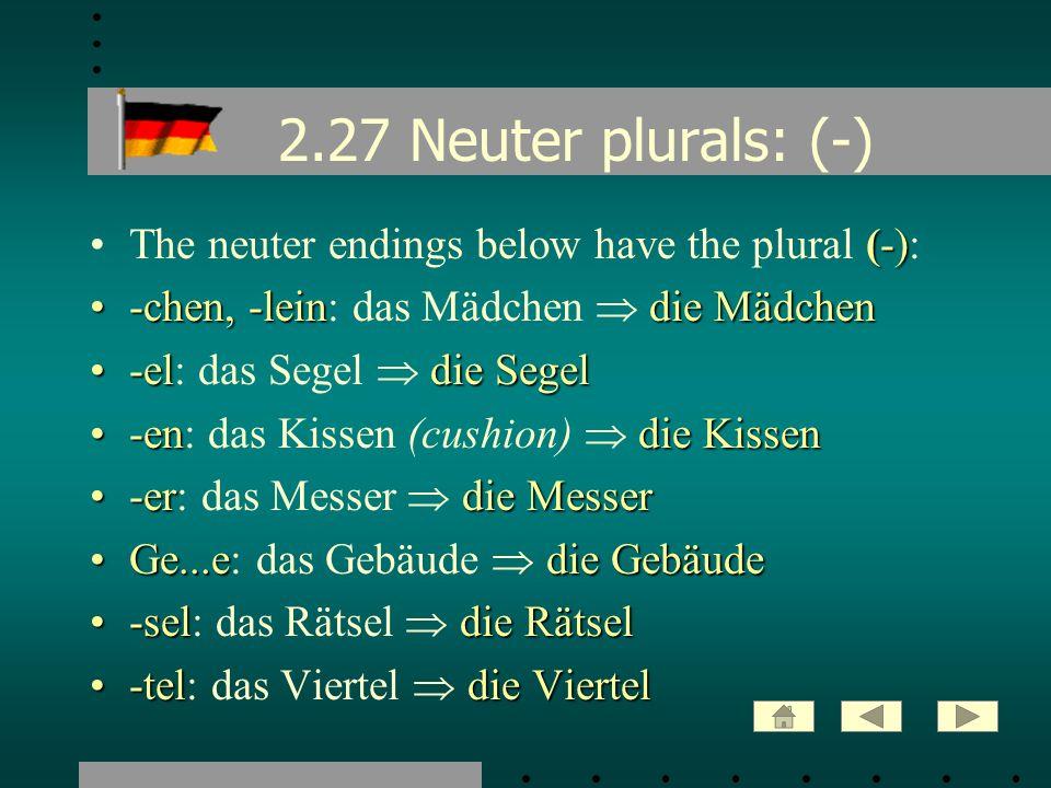 2.27 Neuter plurals: (-) (-)The neuter endings below have the plural (-): -chen, -leindie Mädchen-chen, -lein: das Mädchen die Mädchen -eldie Segel-el