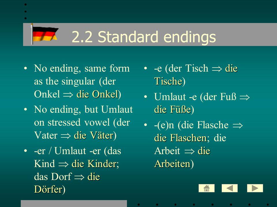 2.2 Standard endings die OnkelNo ending, same form as the singular (der Onkel die Onkel) die VäterNo ending, but Umlaut on stressed vowel (der Vater d