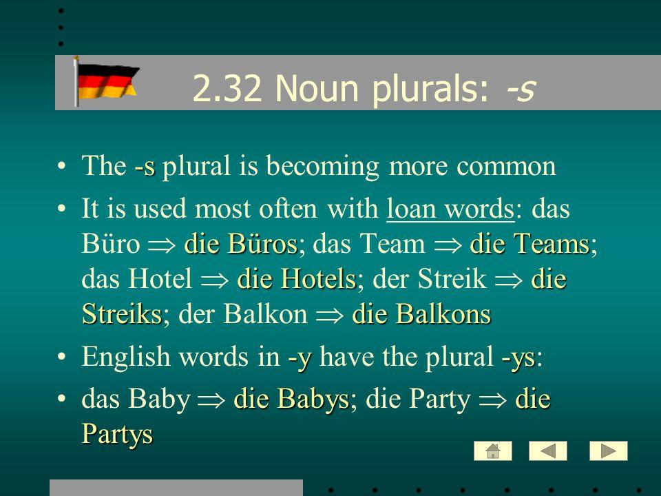 2.32 Noun plurals: -s -sThe -s plural is becoming more common die Bürosdie Teams die Hotelsdie Streiksdie BalkonsIt is used most often with loan words