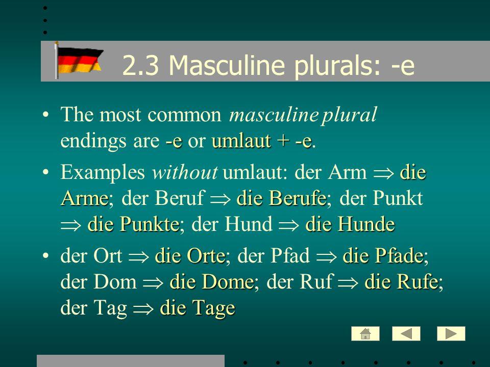 2.3 Masculine plurals: -e -eumlaut + -eThe most common masculine plural endings are -e or umlaut + -e. die Armedie Berufe die Punktedie HundeExamples