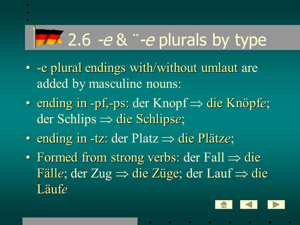 2.7 -el, -en, -er plurals -el-en -erMost masculine plurals ending in -el, -en or -er form their plural without an ending - i.e.