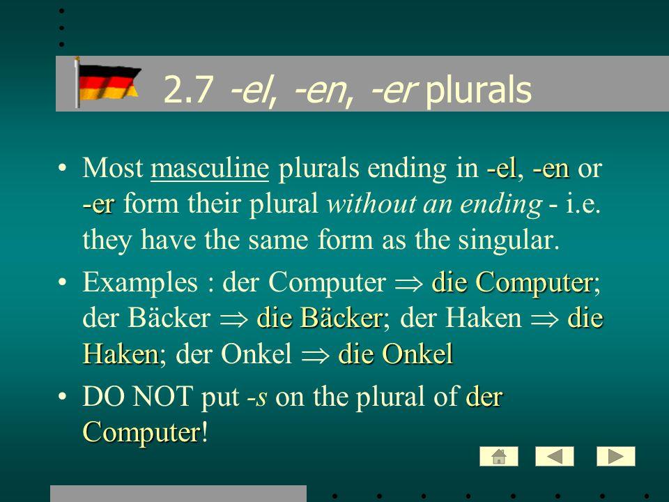 2.8 Exceptions: -el, -en, -er -el-en -er umlautingBUT about 24 masculine nouns in -el, -en and -er form their plural without an ending and by umlauting the stressed vowel.