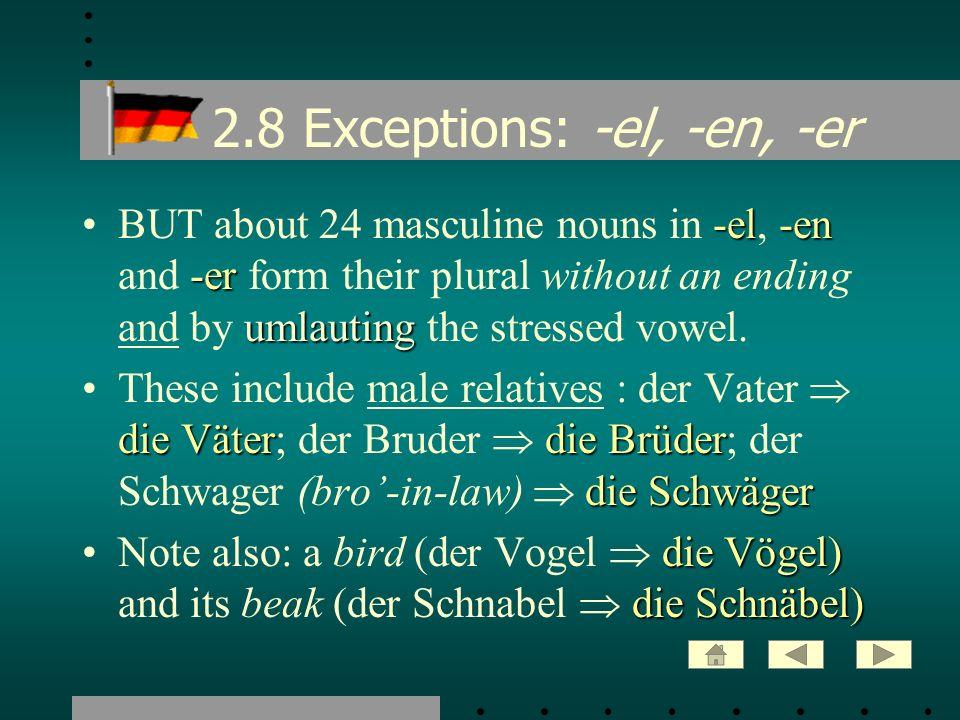 2.8 Exceptions: -el, -en, -er -el-en -er umlautingBUT about 24 masculine nouns in -el, -en and -er form their plural without an ending and by umlautin