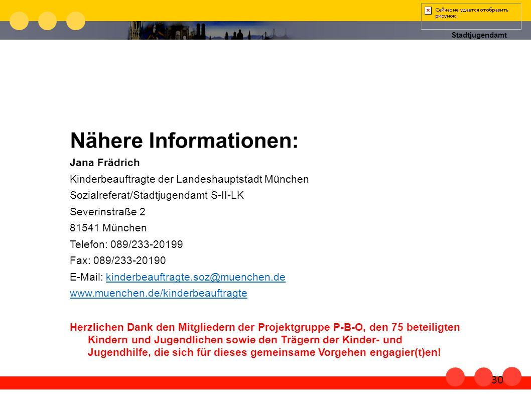 Stadtjugendamt Nähere Informationen: Jana Frädrich Kinderbeauftragte der Landeshauptstadt München Sozialreferat/Stadtjugendamt S-II-LK Severinstraße 2