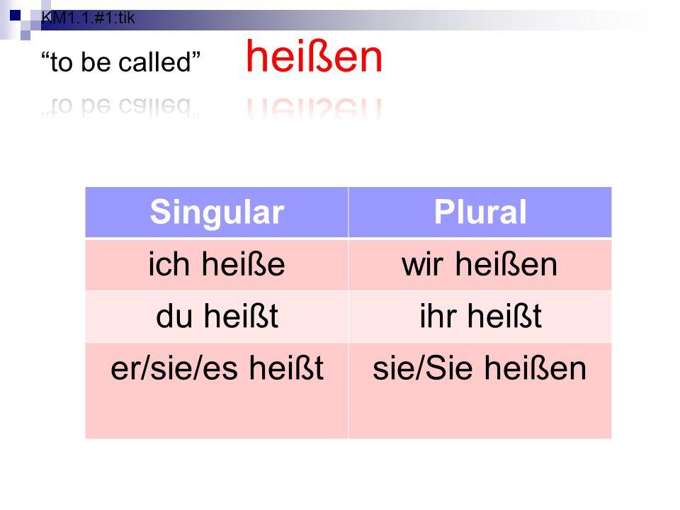 SingularPlural ich heißewir heißen du heißtihr heißt er/sie/es heißtsie/Sie heißen