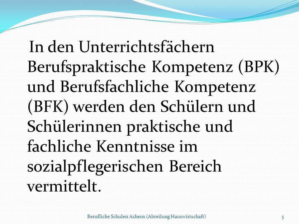 In den Unterrichtsfächern Berufspraktische Kompetenz (BPK) und Berufsfachliche Kompetenz (BFK) werden den Schülern und Schülerinnen praktische und fac
