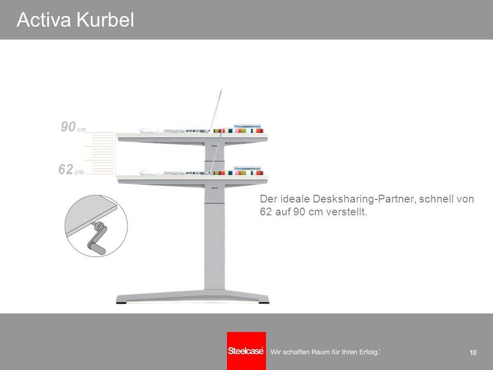 18 einfach perfekt Activa Kurbel 90 cm Der ideale Desksharing-Partner, schnell von 62 auf 90 cm verstellt. 62 cm