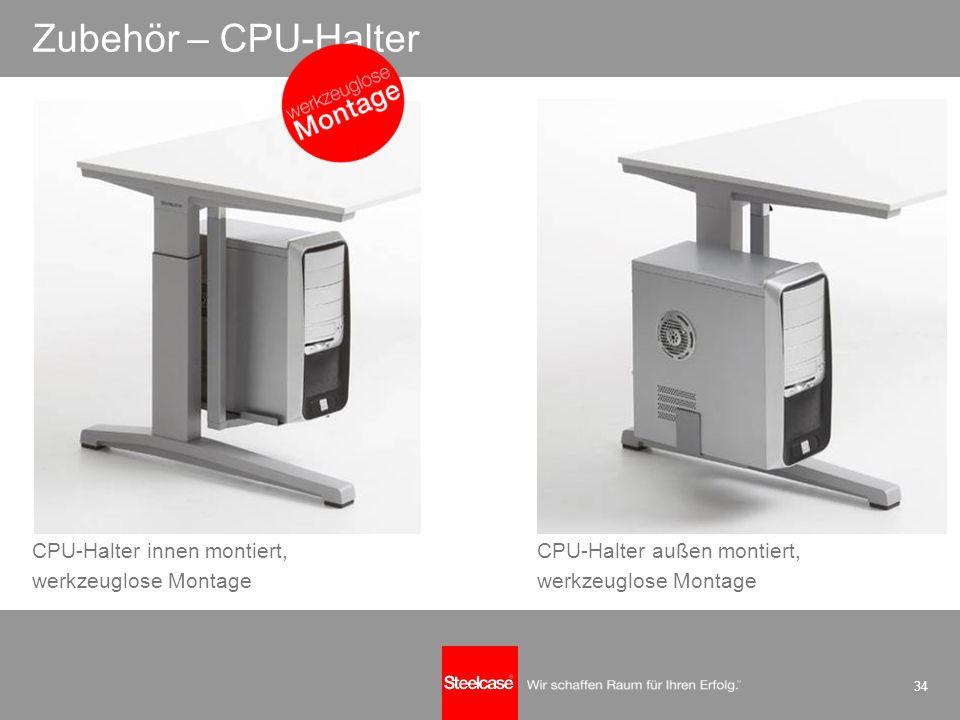 34 Zubehör – CPU-Halter CPU-Halter innen montiert, werkzeuglose Montage CPU-Halter außen montiert, werkzeuglose Montage