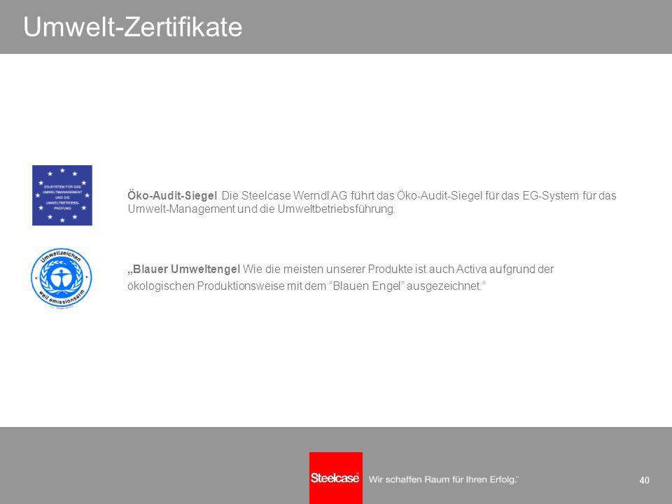 40 Umwelt-Zertifikate Öko-Audit-Siegel Die Steelcase Werndl AG führt das Öko-Audit-Siegel für das EG-System für das Umwelt-Management und die Umweltbe