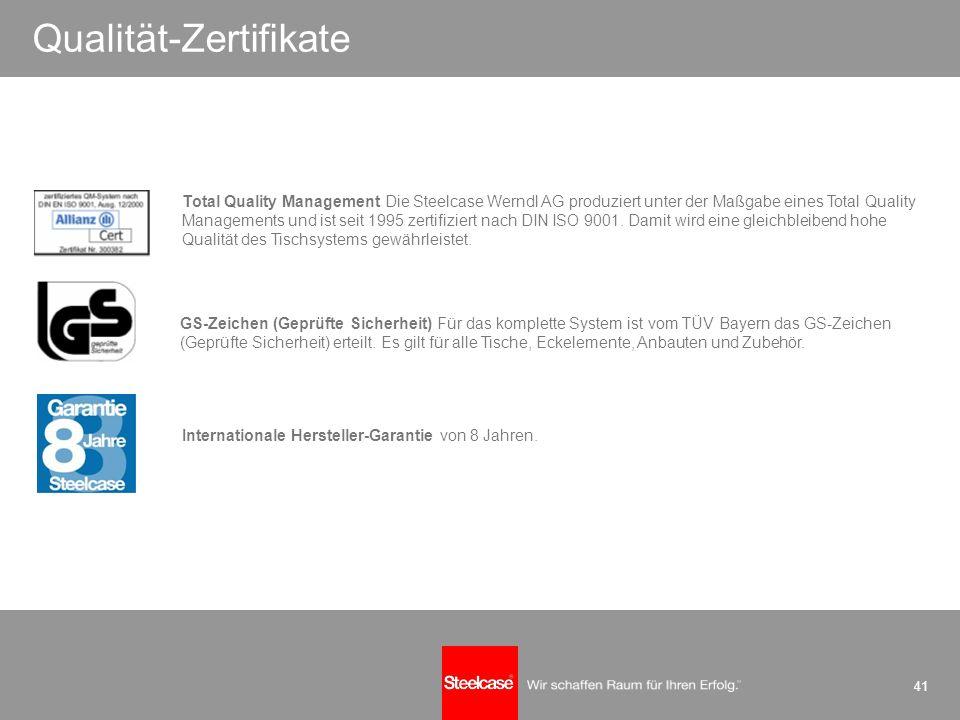 41 Qualität-Zertifikate GS-Zeichen (Geprüfte Sicherheit) Für das komplette System ist vom TÜV Bayern das GS-Zeichen (Geprüfte Sicherheit) erteilt. Es