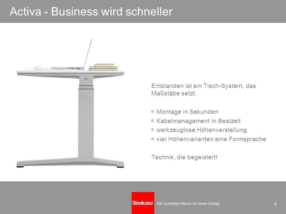 4 Activa - Business wird schneller Entstanden ist ein Tisch-System, das Maßstäbe setzt. Montage in Sekunden Kabelmanagement in Bestzeit werkzeuglose H
