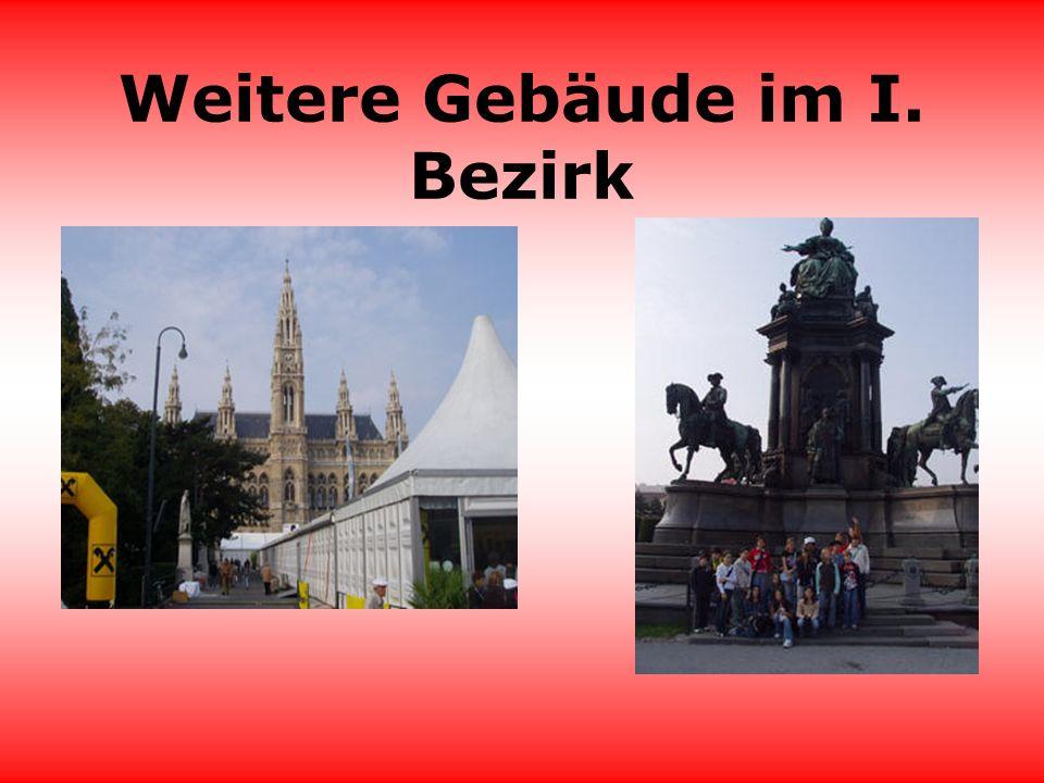 I.Bezirk wichtige Gebäude Im ersten Bezirk sind viele wichtige Gebäude.Wie zum Beispiel: der Stephansdom das Parlament, das Rathaus, die Hofburg mit dem Heldenplatz