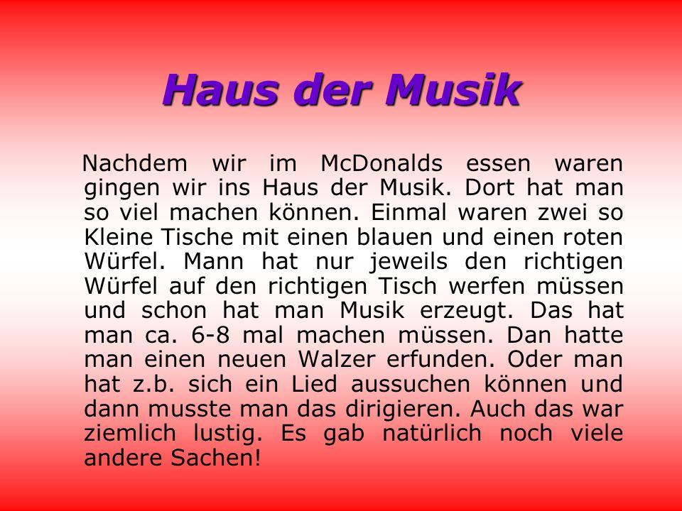 Haus der Musik Nachdem wir im McDonalds essen waren gingen wir ins Haus der Musik.