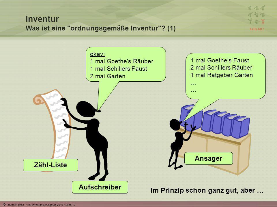 hallobtf! gmbh / Kai-Inventarisierungstag 2010 / Seite 12 Inventur Was ist eine