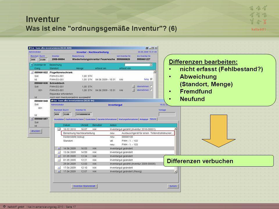hallobtf! gmbh / Kai-Inventarisierungstag 2010 / Seite 17 Inventur Was ist eine