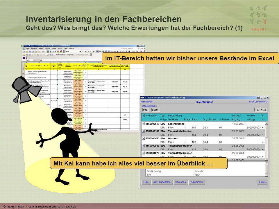 hallobtf! gmbh / Kai-Inventarisierungstag 2010 / Seite 20 Inventarisierung in den Fachbereichen Geht das? Was bringt das? Welche Erwartungen hat der F