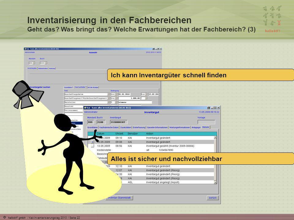 hallobtf! gmbh / Kai-Inventarisierungstag 2010 / Seite 22 Inventarisierung in den Fachbereichen Geht das? Was bringt das? Welche Erwartungen hat der F