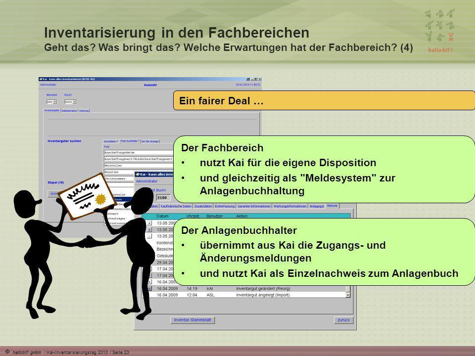 hallobtf! gmbh / Kai-Inventarisierungstag 2010 / Seite 23 Inventarisierung in den Fachbereichen Geht das? Was bringt das? Welche Erwartungen hat der F