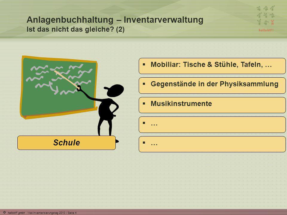 hallobtf! gmbh / Kai-Inventarisierungstag 2010 / Seite 4 Anlagenbuchhaltung – Inventarverwaltung Ist das nicht das gleiche? (2) Schule Mobiliar: Tisch