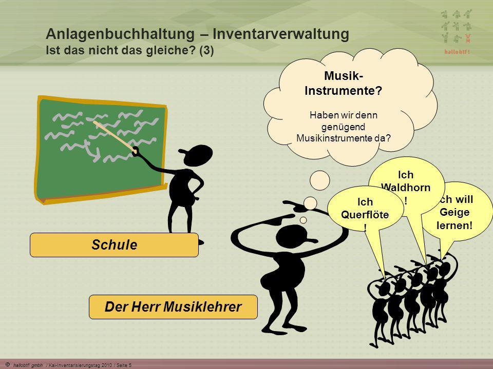 hallobtf! gmbh / Kai-Inventarisierungstag 2010 / Seite 5 Anlagenbuchhaltung – Inventarverwaltung Ist das nicht das gleiche? (3) Schule Ich will Geige