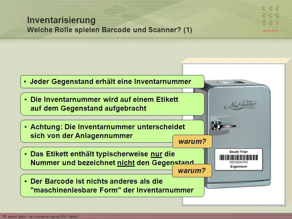 hallobtf! gmbh / Kai-Inventarisierungstag 2010 / Seite 8 Inventarisierung Welche Rolle spielen Barcode und Scanner? (1) Die Inventarnummer wird auf ei