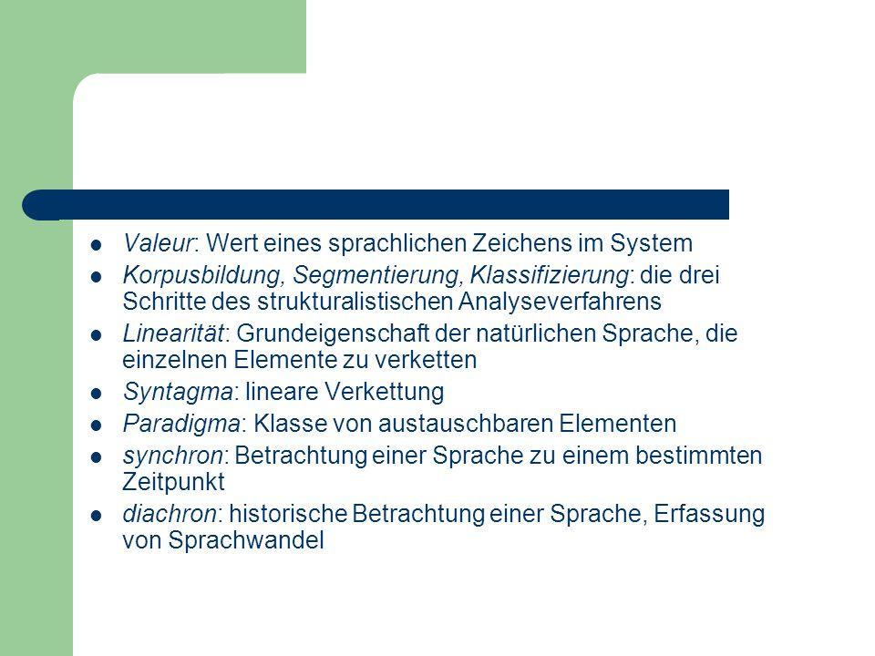 Valeur: Wert eines sprachlichen Zeichens im System Korpusbildung, Segmentierung, Klassifizierung: die drei Schritte des strukturalistischen Analysever