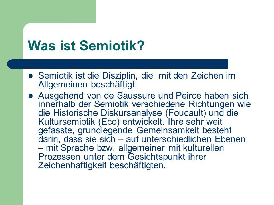 Was ist Semiotik? Semiotik ist die Disziplin, die mit den Zeichen im Allgemeinen beschäftigt. Ausgehend von de Saussure und Peirce haben sich innerhal