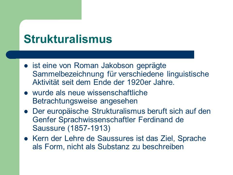Strukturalismus ist eine von Roman Jakobson geprägte Sammelbezeichnung für verschiedene linguistische Aktivität seit dem Ende der 1920er Jahre. wurde