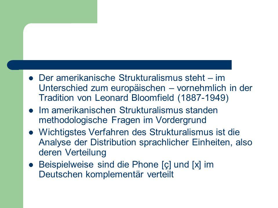 Der amerikanische Strukturalismus steht – im Unterschied zum europäischen – vornehmlich in der Tradition von Leonard Bloomfield (1887-1949) Im amerika