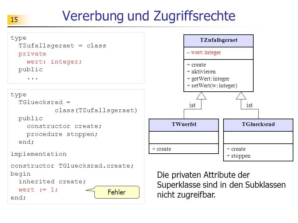 15 Vererbung und Zugriffsrechte type TGluecksrad = class(TZufallsgeraet) public constructor create; procedure stoppen; end; implementation constructor