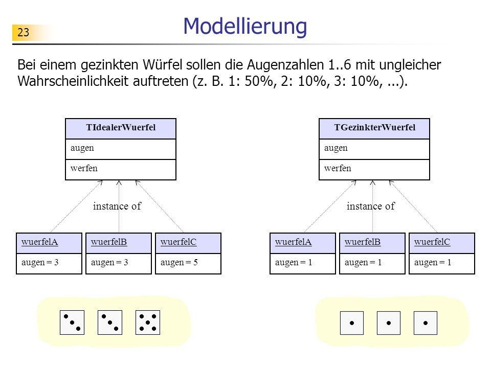 23 Modellierung Bei einem gezinkten Würfel sollen die Augenzahlen 1..6 mit ungleicher Wahrscheinlichkeit auftreten (z. B. 1: 50%, 2: 10%, 3: 10%,...).