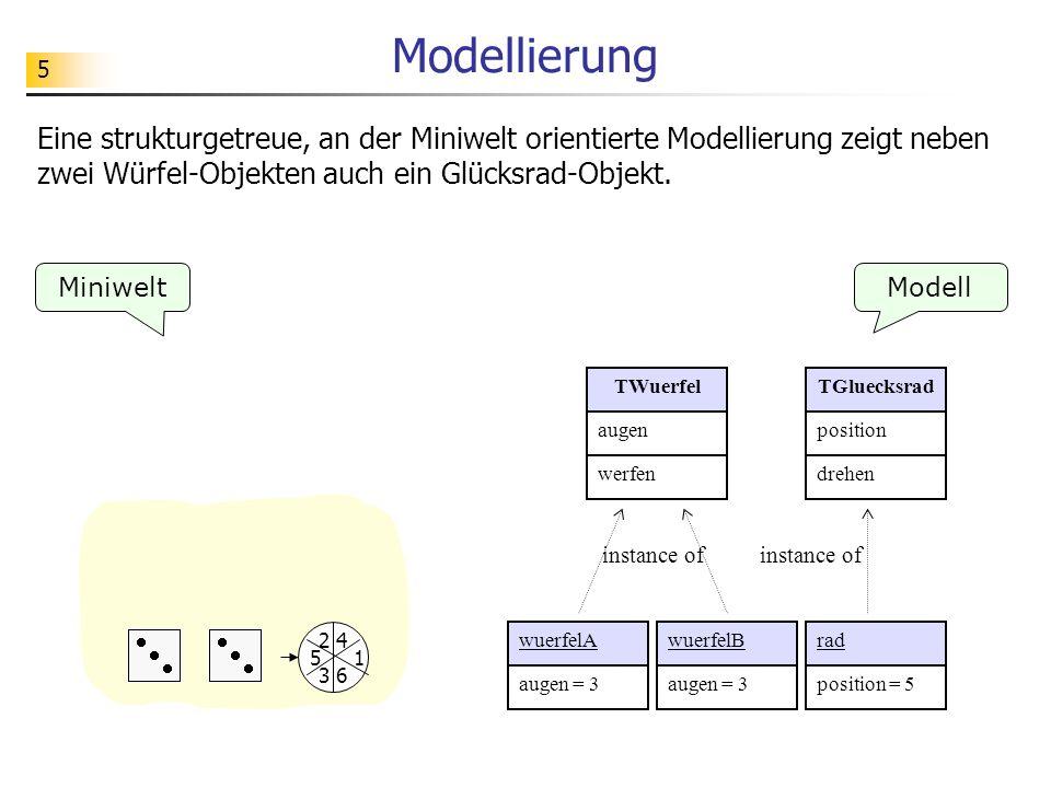 5 Modellierung Miniwelt Eine strukturgetreue, an der Miniwelt orientierte Modellierung zeigt neben zwei Würfel-Objekten auch ein Glücksrad-Objekt.