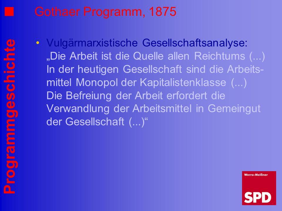 Programmgeschichte Gothaer Programm, 1875 Vulgärmarxistische Gesellschaftsanalyse: Die Arbeit ist die Quelle allen Reichtums (...) In der heutigen Ges