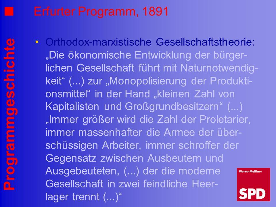 Programmgeschichte Erfurter Programm, 1891 Orthodox-marxistische Gesellschaftstheorie: Die ökonomische Entwicklung der bürger- lichen Gesellschaft füh