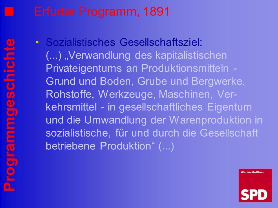 Programmgeschichte Erfurter Programm, 1891 Sozialistisches Gesellschaftsziel: (...) Verwandlung des kapitalistischen Privateigentums an Produktionsmit